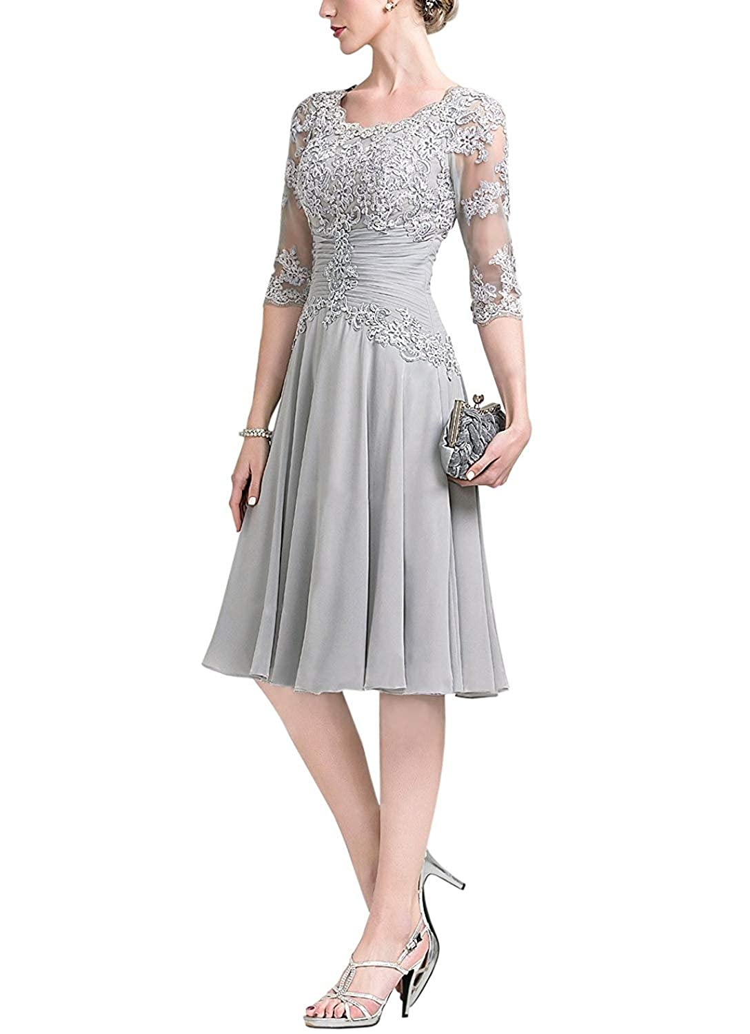 9d0014960c66 Homecy Short Chiffon Bridesmaid Dresses Lace Appliques Half Sleeve Wedding  Evening Party Dresses at Amazon Women's Clothing store: