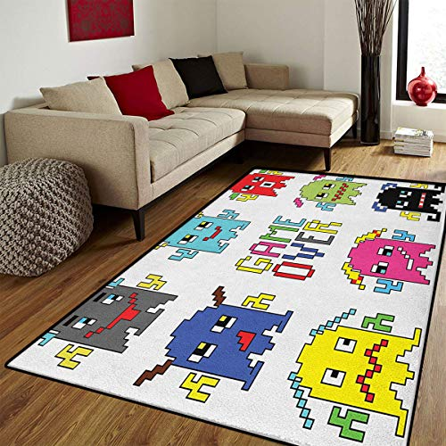 90s,Bath Mats Carpet,Pixel Robot Emoticons with Game Over Sign Inspired by 90s Computer Games Fun Artprint,Door Mat Increase,Yellow Red,6.6x10 ft -