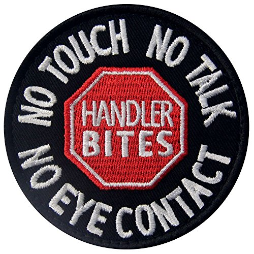 Service Dog No Touch No Talk No Eye Contact Vests/Harnesses Emblem Embroidered Fastener Hook & Loop Patch