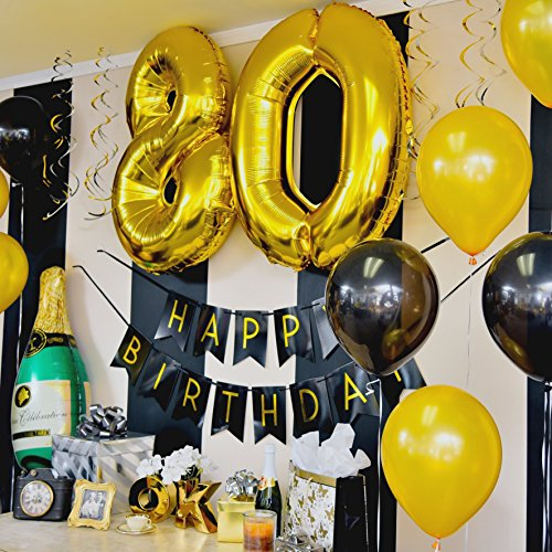80th Birthday Party Pack Black Gold Happy Bunting Poms And Swirls Decorations Supplies Toys Games
