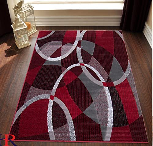 HR-Red Grey Silver Black Abstract Contemporary Modern Design Oval and Circle Pattern Area Rug 7 8 X10