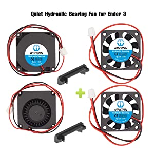 WINSINN 40mm Blower Fan 24V 4010 Turbine Turbo 40x10mm for Cooling Creality Ender 3 / Pro Turbine Turbo 40x10mm 4010 DC Brushless Hydraulic Bearing, with Air Guide Parts - Quiet (Pack of 4Pcs)