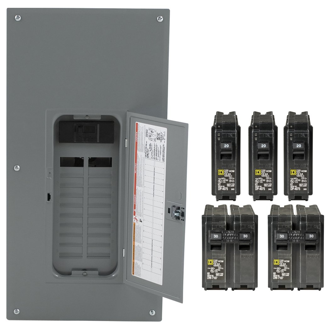 Square D by Schneider Electric HOM2040M200PCVP Homeline 200-Amp 20-Space 40-Circuit Indoor Main Breaker Load Center Value Pack Plug-on Neutral Ready