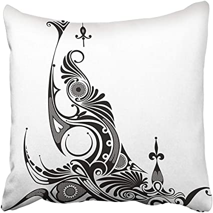 b6f3f53ff5df9 Throw Pillow Covers 18 x 18 Inches Black Maori Abstract White Swirl Fantasy  Tattoo Ornate African