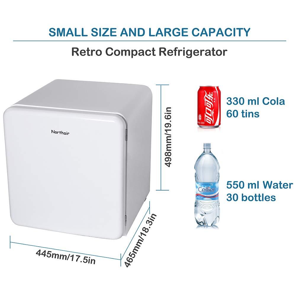 Retro Style Single Door Freezer Cooler 1.6 Cu.Ft Mini Refrigerator Fridge with Drink Dispenser Camper Basement or Office Garage Using for Dorm Northair Compact Refrigerator