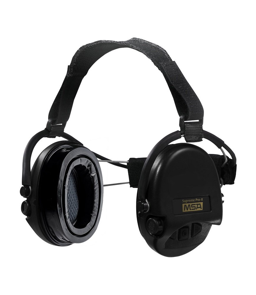 MSA Sordin Supreme Pro X with black cups - Neckband - Electronic Earmuff equipped with comfortable ear-seals, slim-design