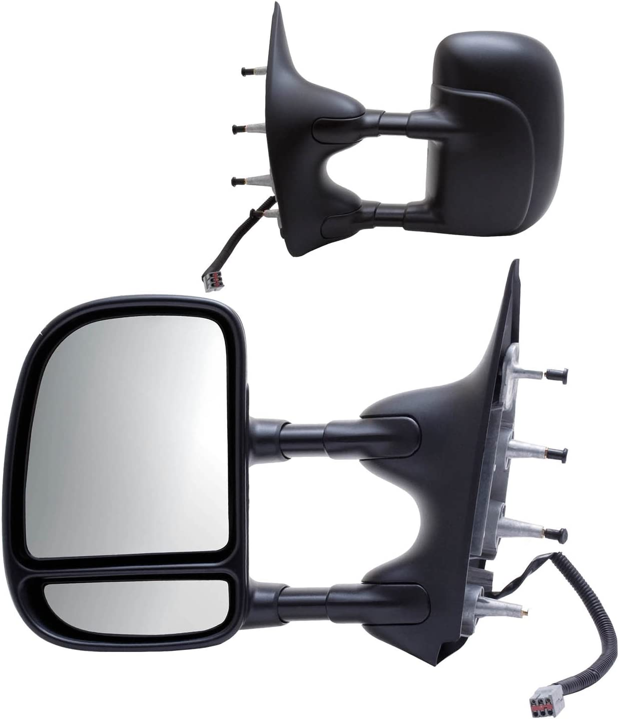 Fit System Towing Mirror Pair for Ford Econoline Van, Textured Black, extendable, Foldaway, Power