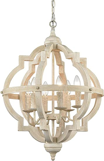 CLAXY Weathered 6 Light Stardust Farmhouse Chandeliers Distressed Wooden Chandelier-Assembled