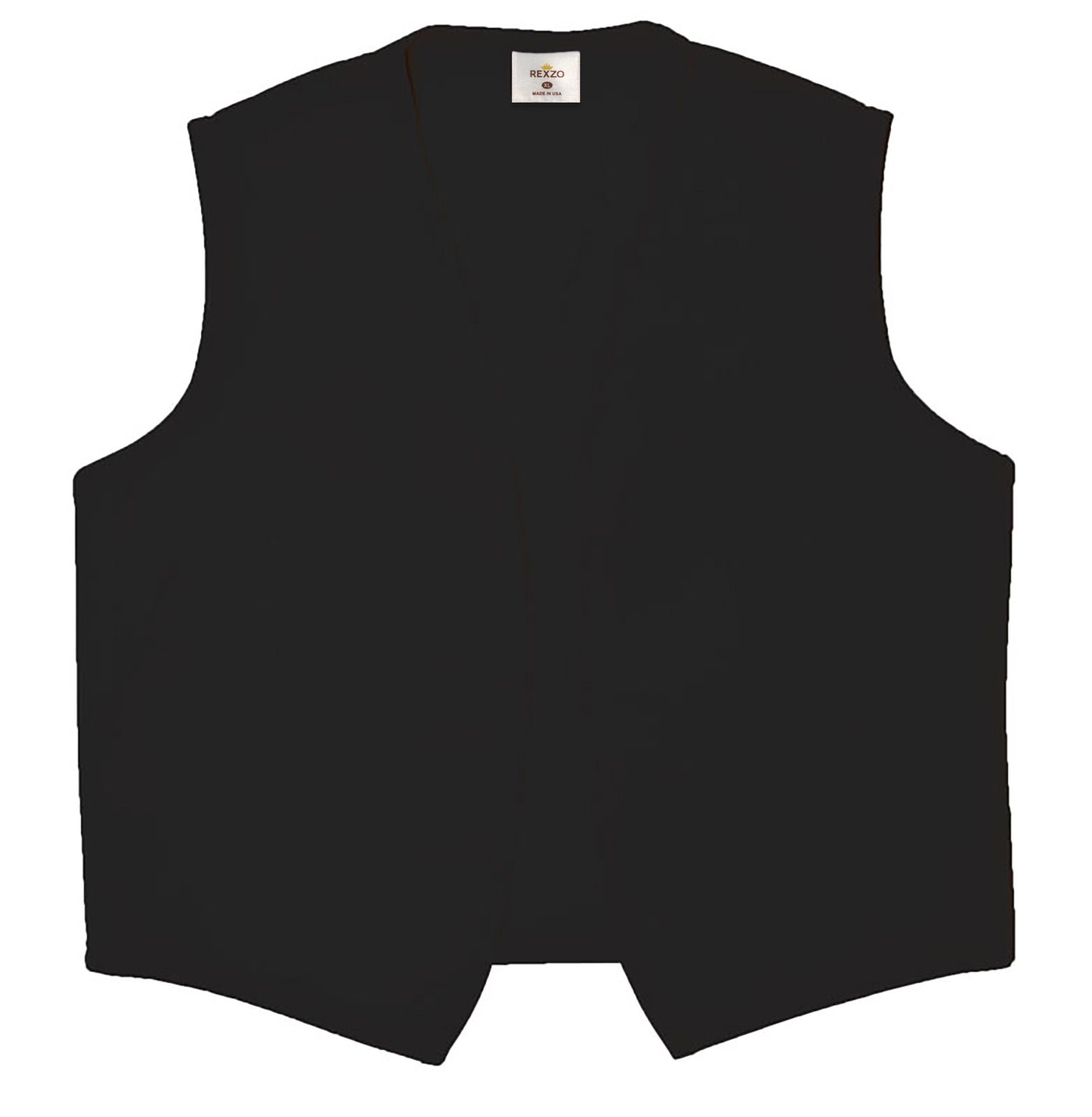 REXZO Unisex Vest No Pocket No Buttons– Made in The USA - Black, Large