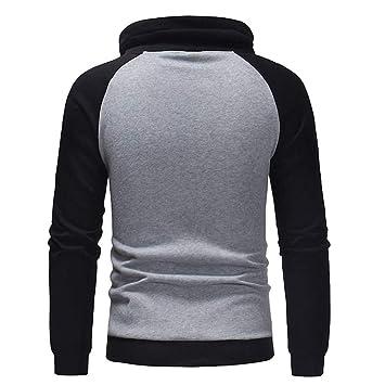 Logobeing Sudaderas de Hombre Invierno Abrigos Ropa Casual Outerwear Manga Larga Camisetas Chaqueta Suéter Chaqueta Punto Hombre Hoodie Tops -D513(L,Gris): ...