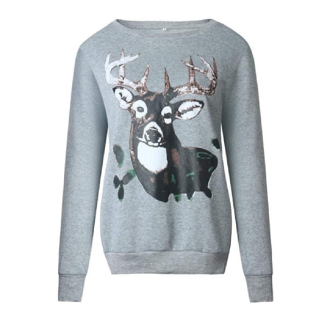 YUNY Women Reindeer Merry Christmas Sweatshirt Outdoors Outwear Tops Grey L