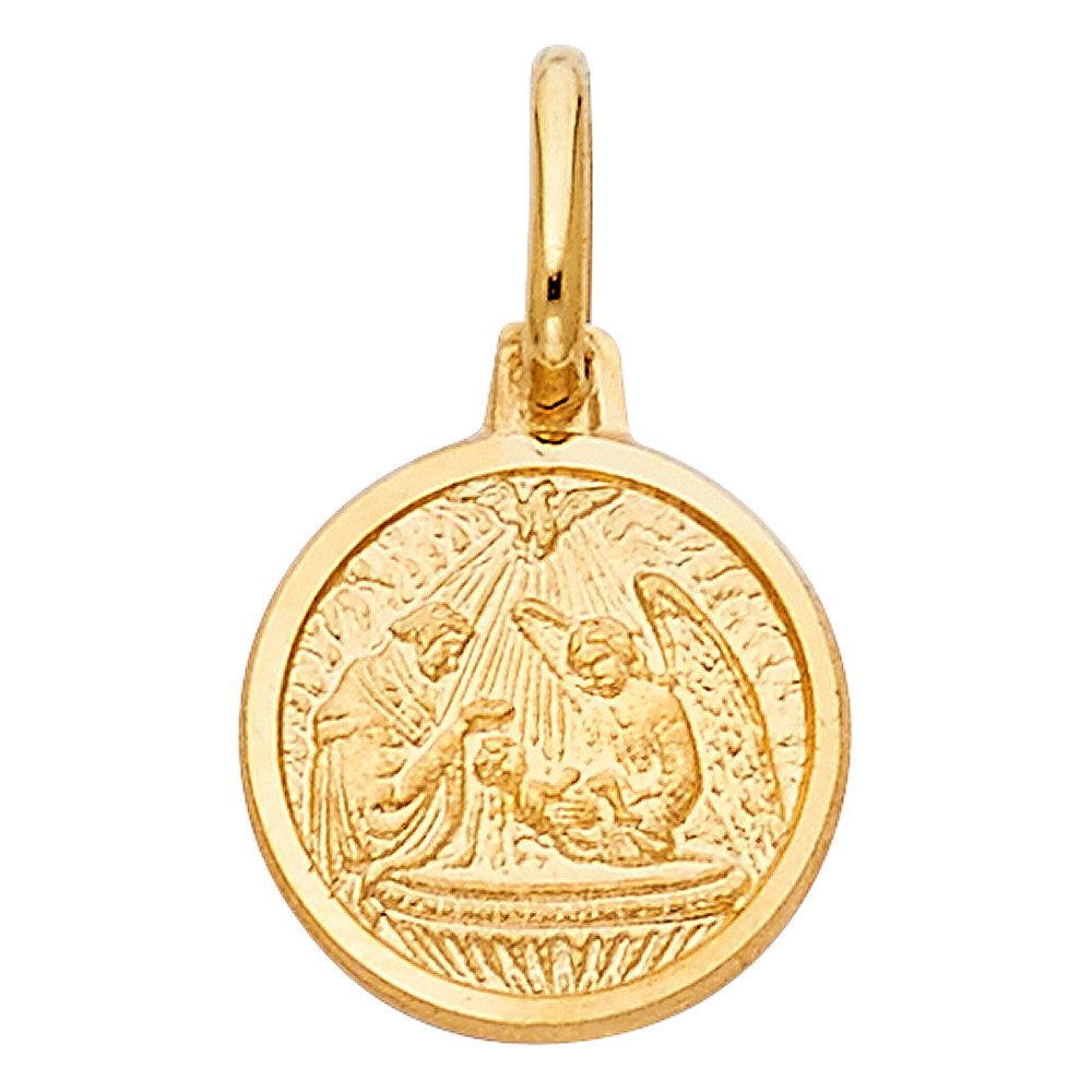 Million Charms 14k Yellow Gold Baptism Charm Pendant 13mm x 15mm
