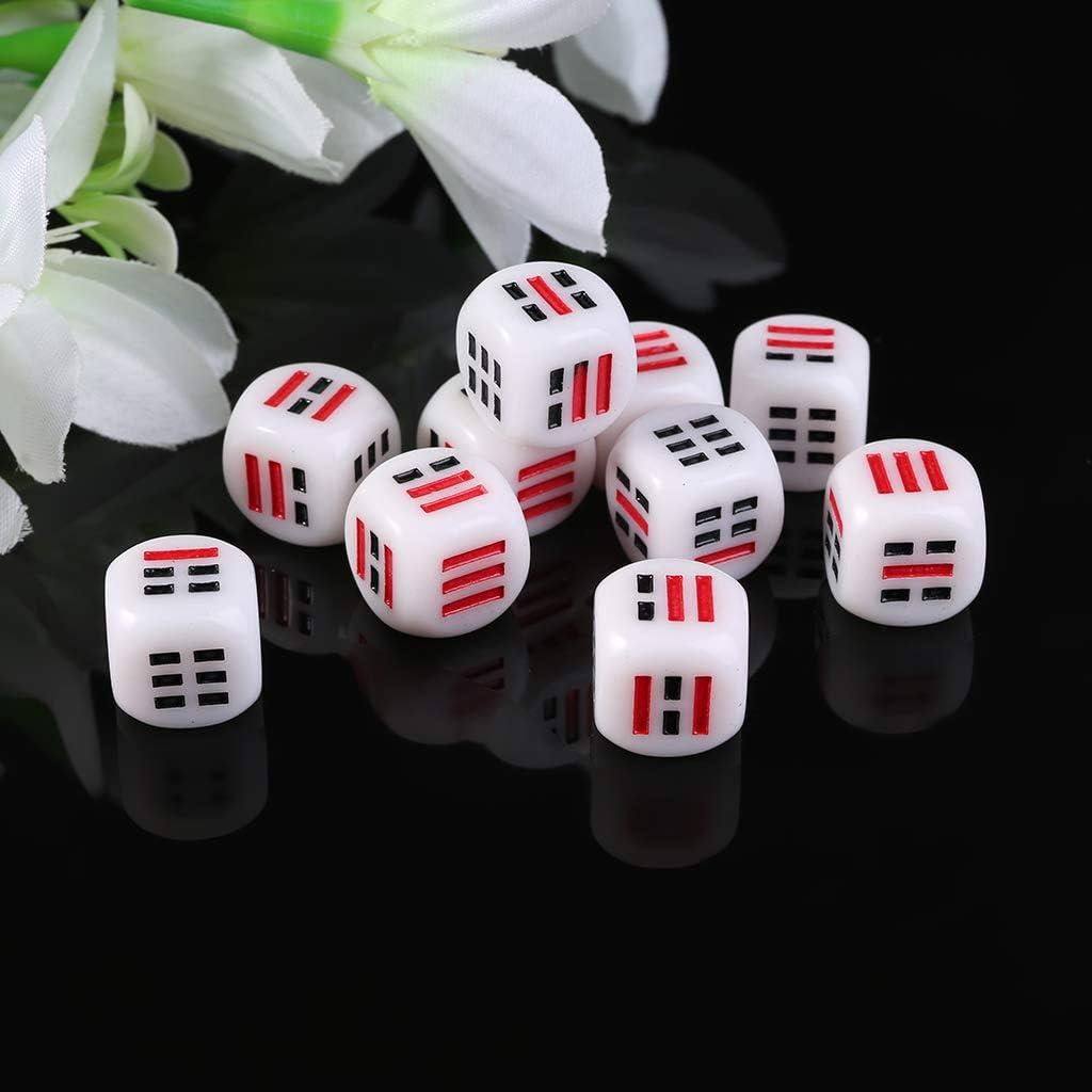 ATATMOUNT 10 pi/èces D6 d/és pour faciliter la Fortune deviner Les d/és de Divination Ba Gua Huit trigrammes pi/èces Accessoire 16mm