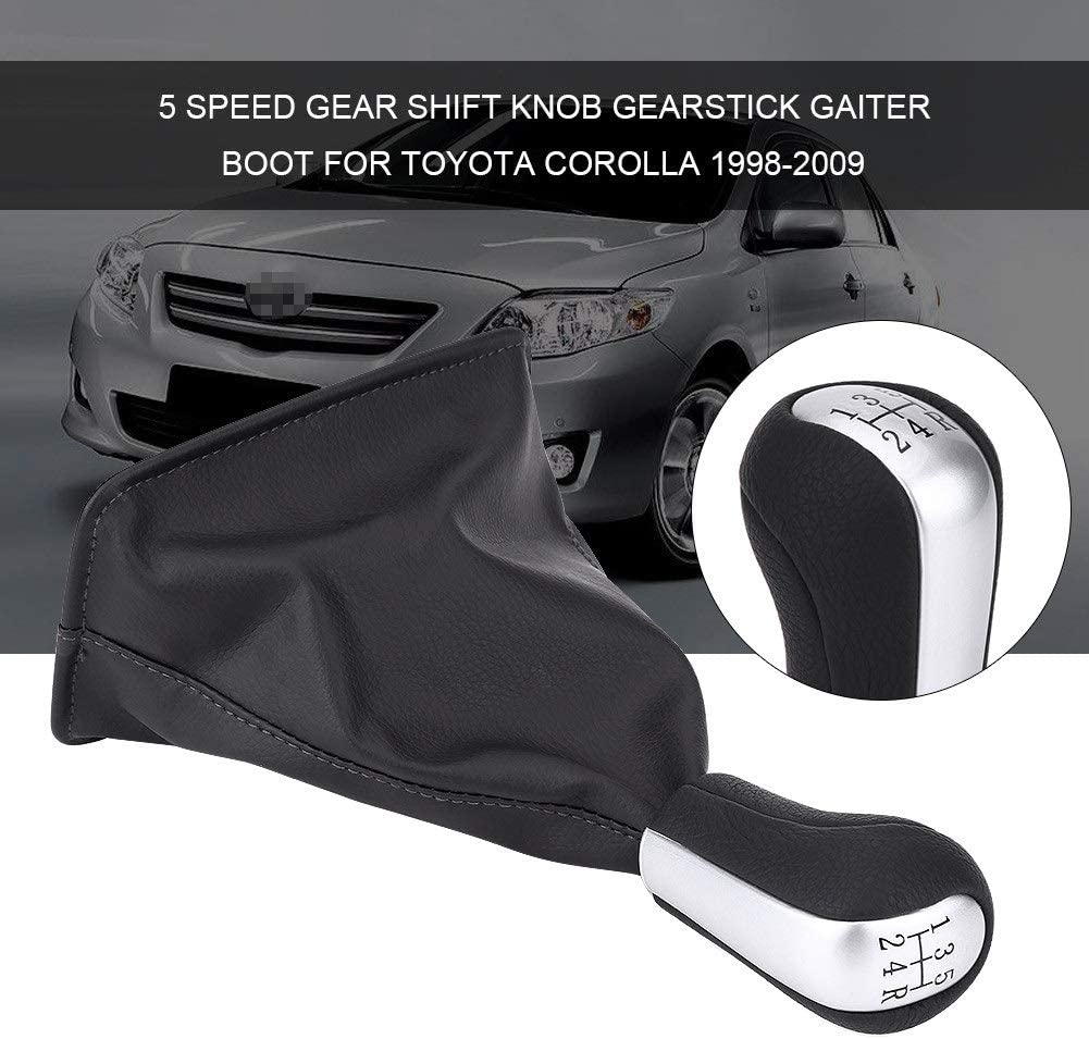 Gear Shift Knob 1 Set of 5 Speed Gear Shift Knob Gearstick Gaiter Boot for Toyota Corolla 1998-2009.