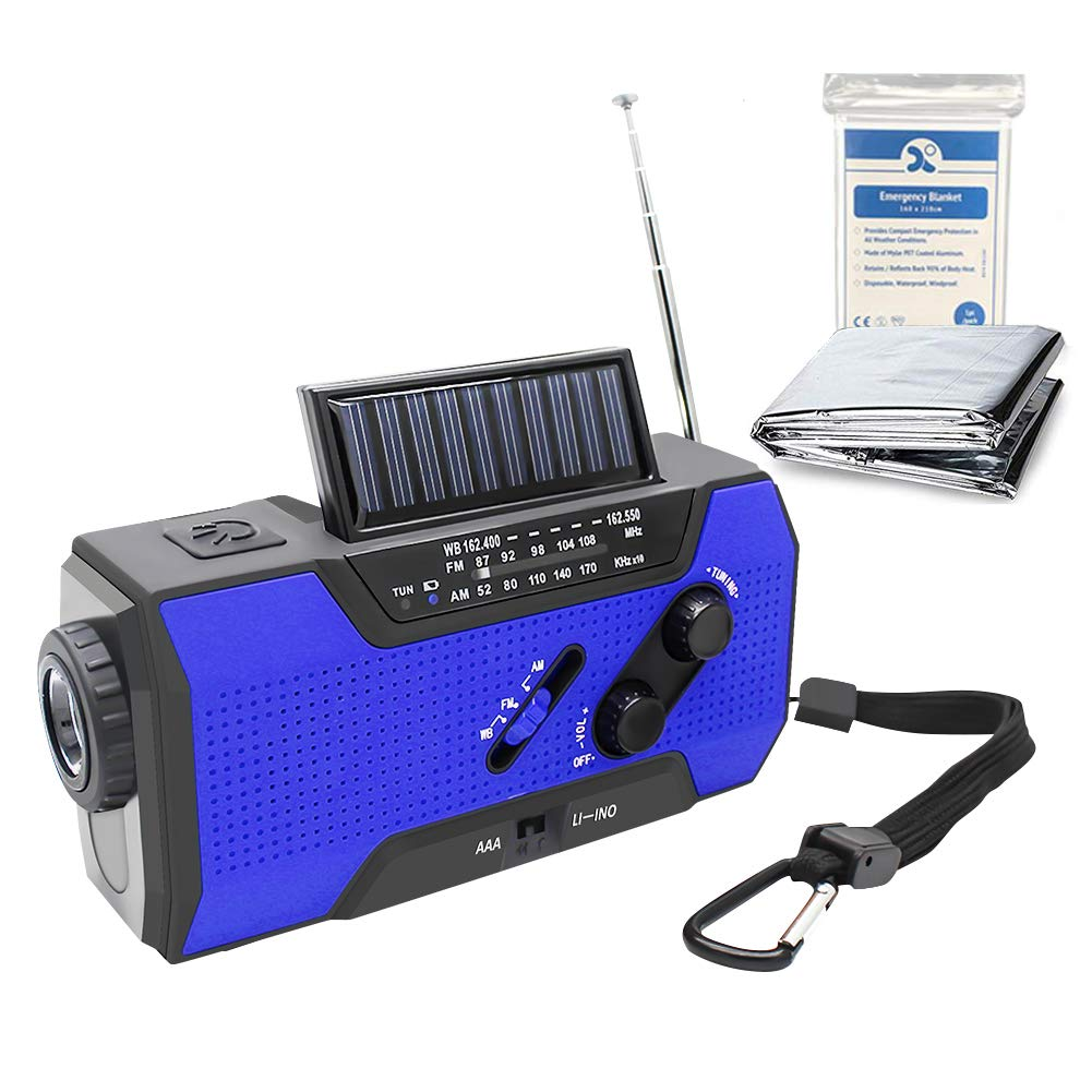 Hand Crank Solar AM FM NOAA Weather Radio 2000mAh Portable Power Bank Emergency Radio Dynamo Flashlight, Reading Lamp and SOS Alarm 4 Ways to Charge (Blue)