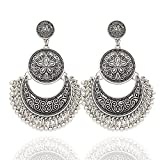 Silver Plated Q&Q Fashion Ethnic Bali Jhumka Jhumki Brocade Lotus Mexico Gypsy Dangle Earrings