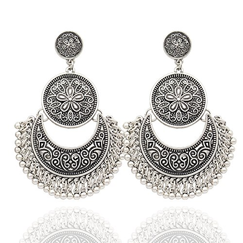 RechicGu Vintage Silver Ethnic Bali Jhumka Jhumki Gold Brocade Lotus Mexico Gypsy Dangle Earrings with Gift -