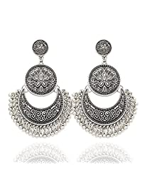 Q&Q Fashion Ethnic Bali Jhumka Jhumki Brocade Lotus Mexico Gypsy Dangle Earrings