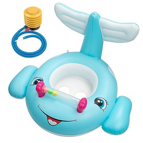 Feelava Inflable Bebé Asiento Flotador Barca Bebé de Piscina Inflables Anillo de Natación con Bomba Inflable
