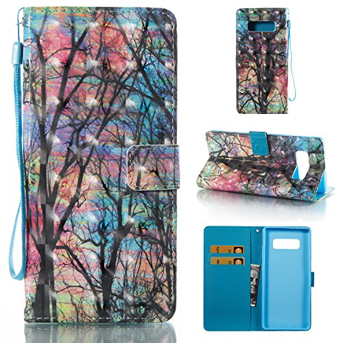 Galaxy Note 8 Case, SAVYOU 3D Pattern Card Slot Hidden Magnetic Book Stand Leather Slim Flip Folio Wallet Protective Case Cover for Samsung Galaxy Note 8