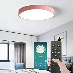 Pink Smart LED Ceiling Light Dustproof BT Wireless Smart Home APP Remote Control Modern Ultrathin 5x40cm 3 Color Temperatures Lamp in One LED Flush Mount Ceiling Light 30W Smart LED Ceiling Lamp