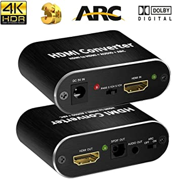 Fosmon UHD 4K HDMI to HDMI HDMI Audio Splitter with Pigtail HD Support 3D 1080p HDMI Audio Converter SPDIF Optical Toslink // 3.5MM Stereo Audio Extractor Converter