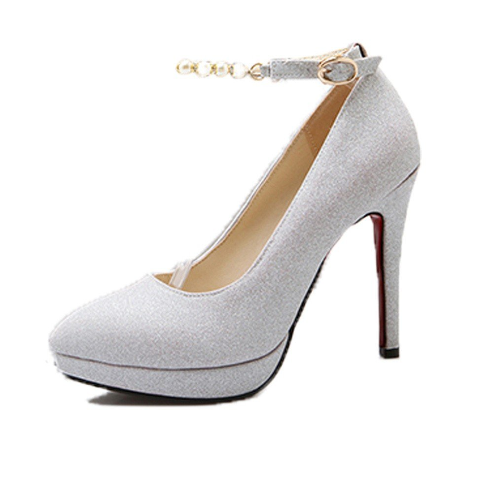 HBDLH-Zapatos de Mujer/La Primavera Y El Verano Bien Plata Vestido De Novia Zapatos De Novia Sexy 12Cm Super Zapatos De Tacon Alto Zapatos De Punta.Treinta Y Cuatro Plateado Thirty-four|silvery