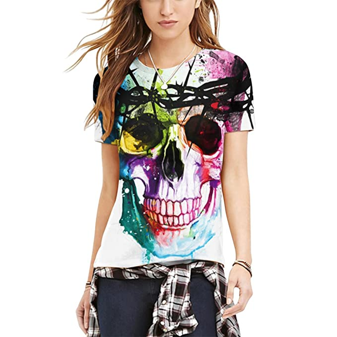 e5d427e48e0 iShine Womens Summer Casual Skull Print Short Sleeve T-Shirt Ladies Digital  3d Pattern Top Blouse Tees Slim Fit at Amazon Women s Clothing store