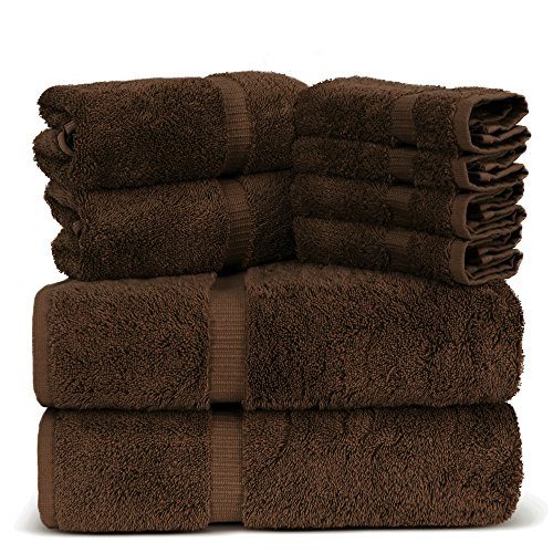 Luxury Spa and Hotel Quality Premium Turkish 8 Pieces Towel Set (2 x Bath Towels, 2 x Hand Towels, 4 x Wash Cloths, Brown)