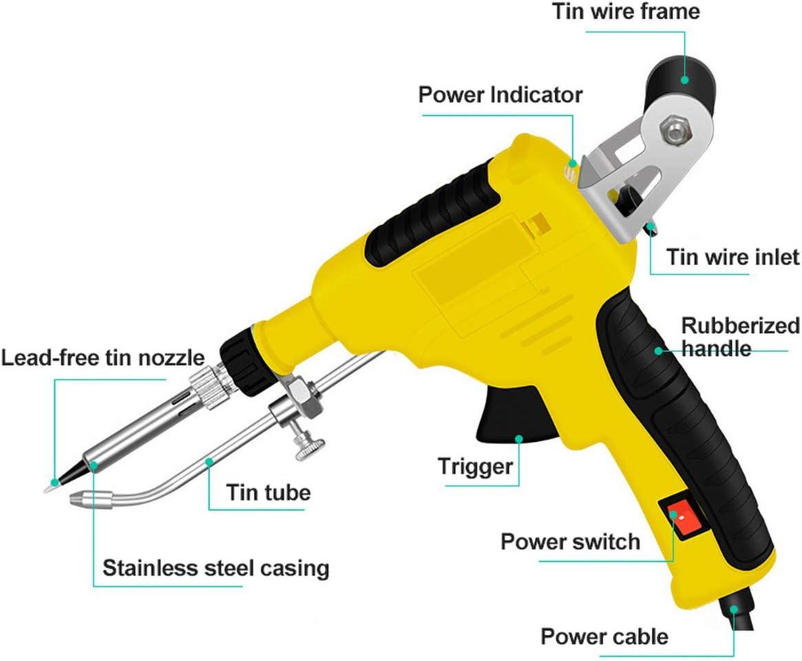 Hokaime 60W Manual Soldering Gun Set, 15 Electric Soldering Iron Combination Set, 5 Soldering Iron Tips, Etc. Suitable for Manual Quick Repair,Yellow Yellow