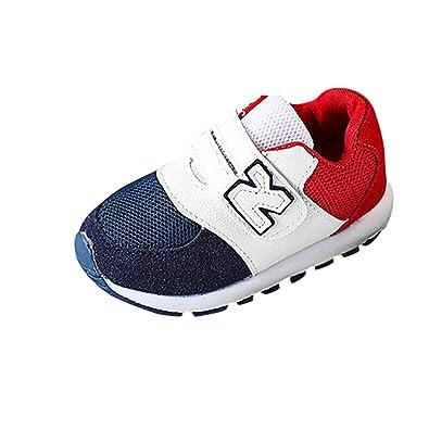 ae2e41e2ddfd82 GongzhuMM Coloblock Lettre Baskets Basses Mixte Enfant Fille Garcon Mode  Chaussures Bebe Maille Respirant Sneakers Premier