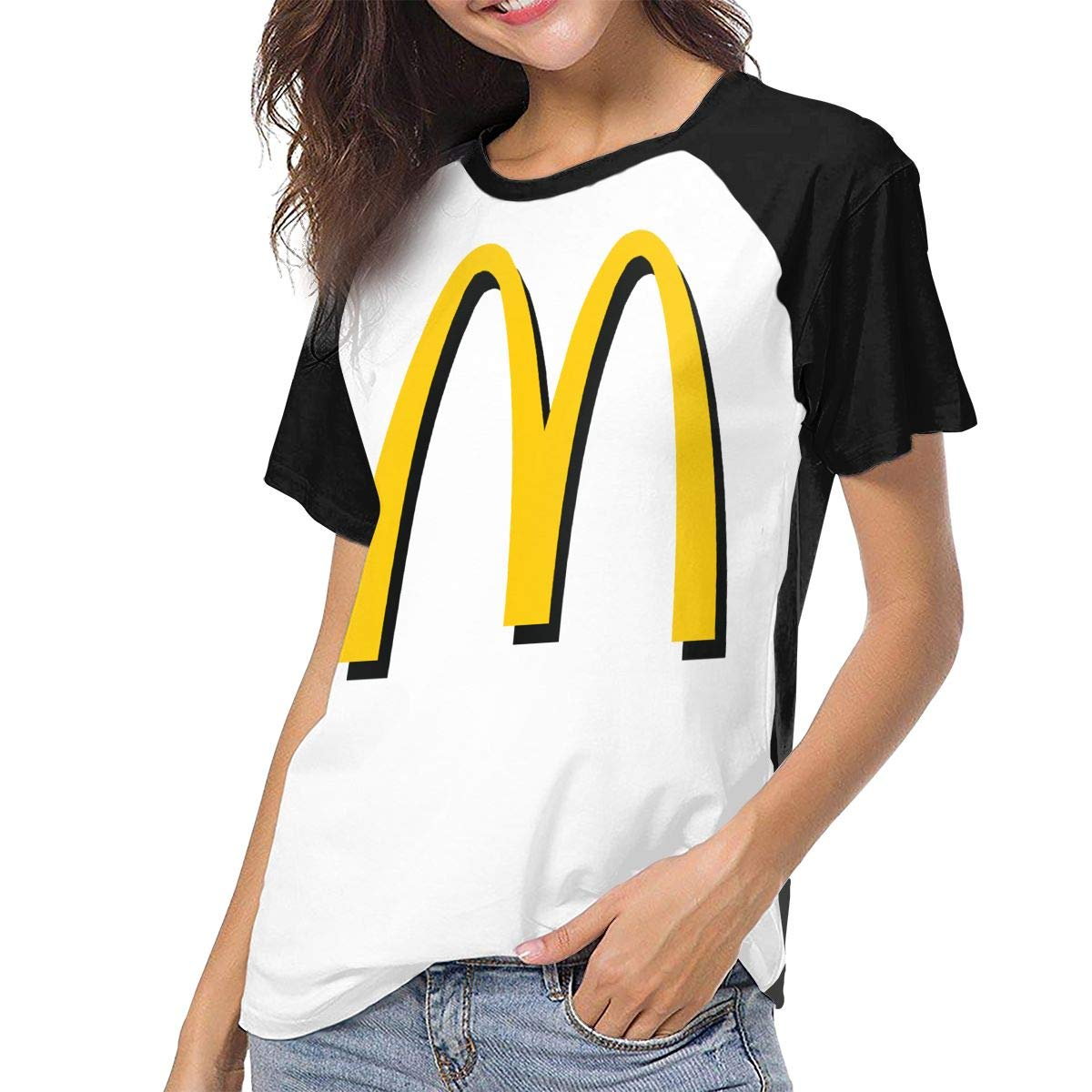 Women's T Shirt McDonalds Logo Tee Shirts Casual Cotton T-Shirt Short-Sleeve Round Neck Tshirt for Women Youth Girls Black S by BKashy