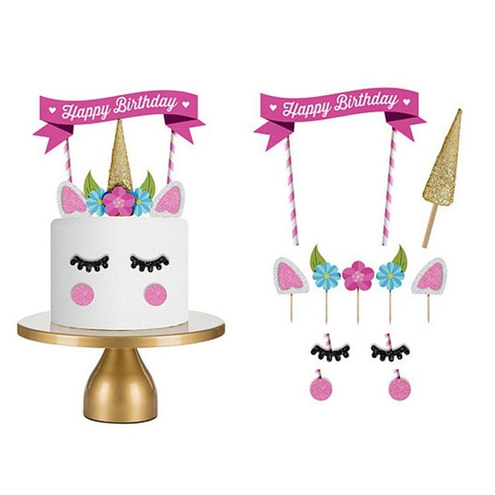 Fine Flybuild 11Pcs Cute Unicorn Themed Happy Birthday Paper Cake Funny Birthday Cards Online Alyptdamsfinfo