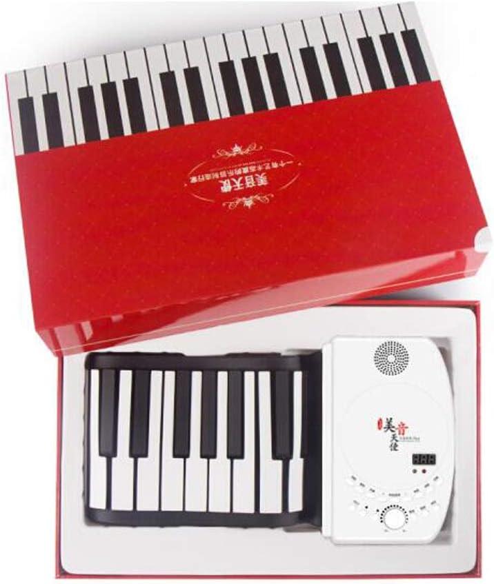 手ロールピアノ88キーポータブルプロフェッショナルバージョンキーボード大人折りたたみキーボードピアノ楽器88キーホワイト (Color : Red)