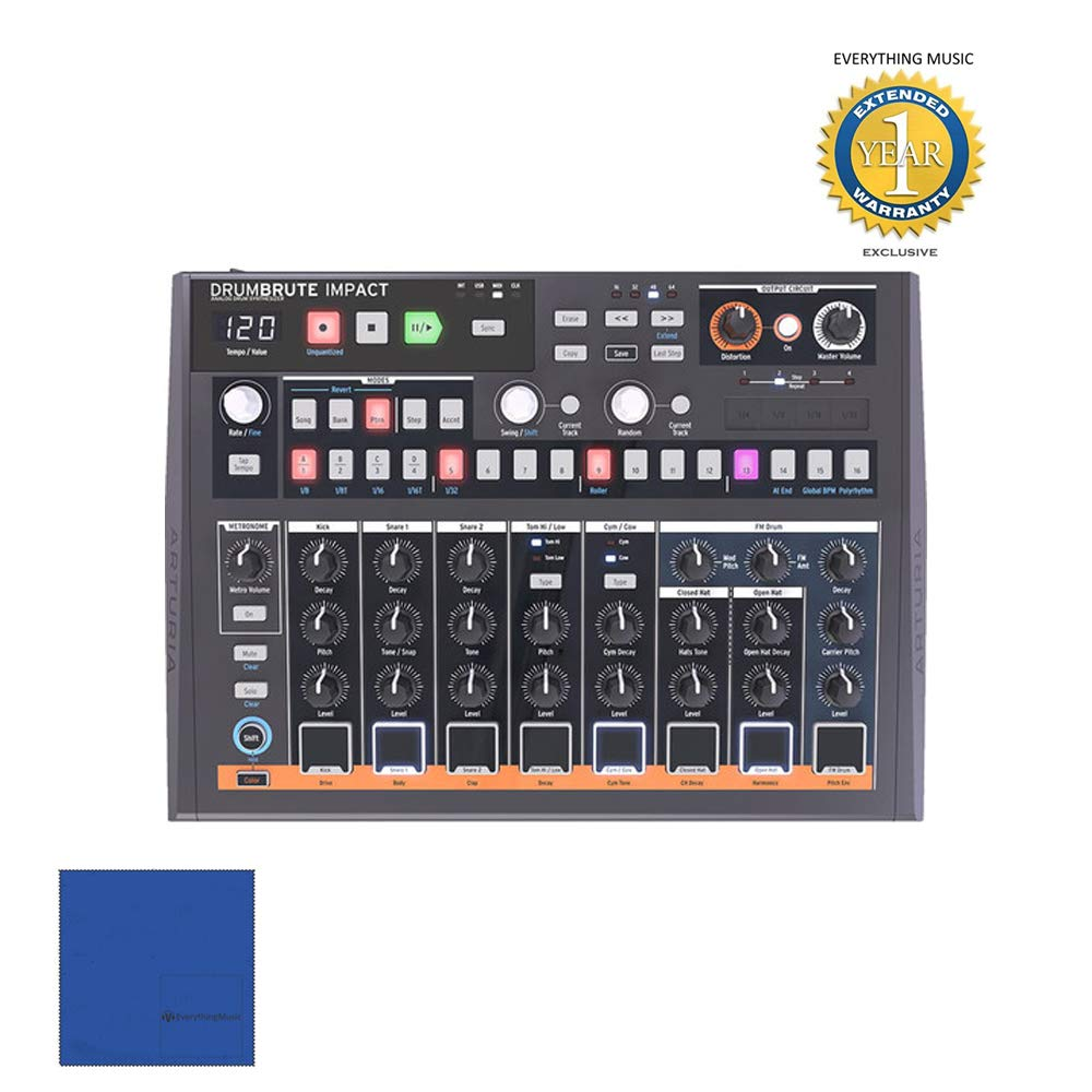 Arturia DrumBrute Impact Drum Machines with Microfiber and 1 Year Everything Music Extended Warranty by Arturia