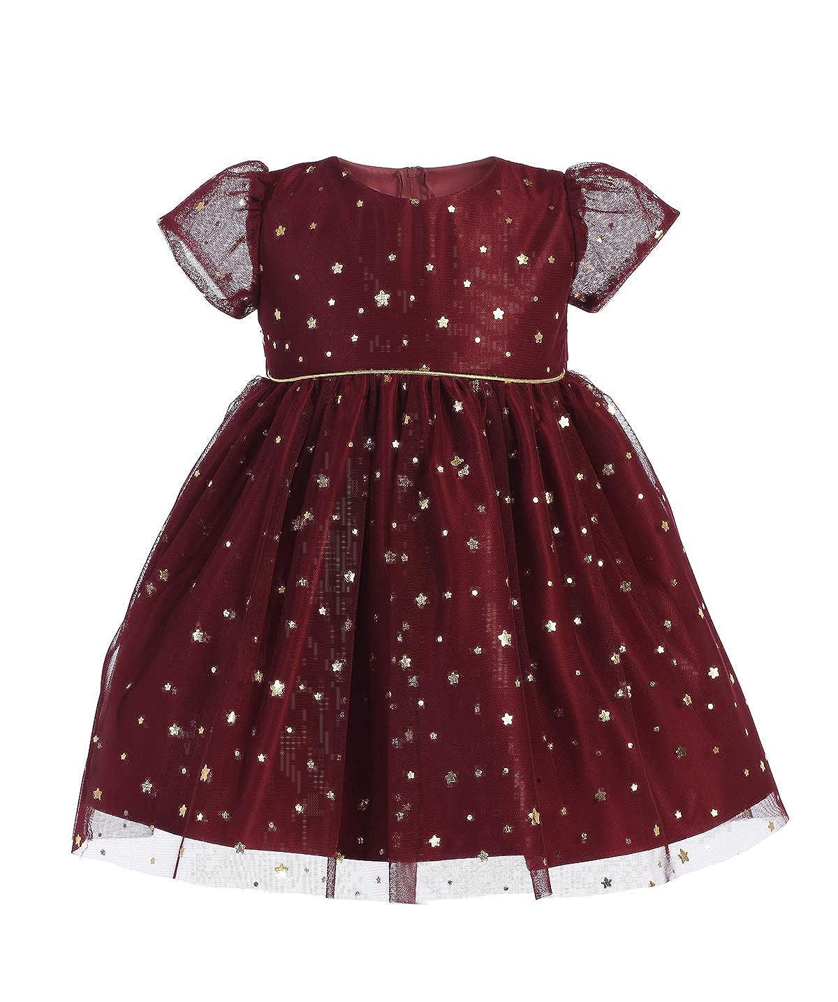 4d094304a Amazon.com: Burgundy Navy Blue Baby Girls Dress Star Gold Flower Christmas  Holiday Wedding Party Birthday: Clothing