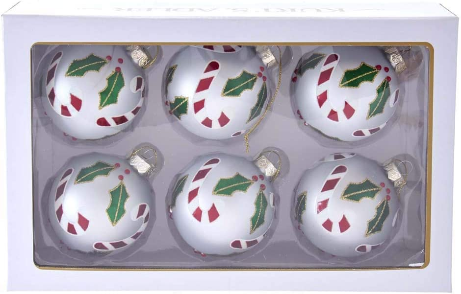 Kurt S Adler 80mm Silver Glass Ball Holly Accent And Candy Canes 6 Piece Boxed Ornament Set Multi Home Kitchen