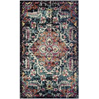 Safavieh Monaco Collection MNC252J Vintage Bohemian Medallion Distressed Blue and Fuchsia Pink Area Rug (3 x 5)