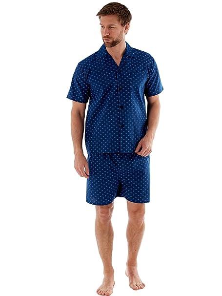 Harvey James Pijamas Cortos de Algodón Poliester Tejido Hombre M-2XL Oscuro o Azul Claro: Amazon.es: Ropa y accesorios