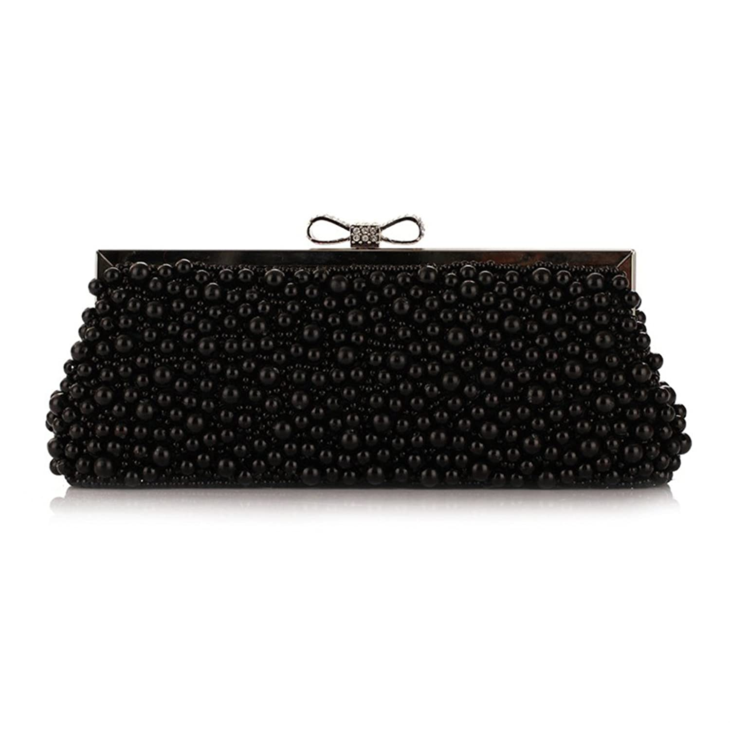 VENNOBIA Encrusted Pearl Bowknot Magnet Clasp Drop-In Chain Evening Clutch  Bag 85%OFF be6916bd07fa5