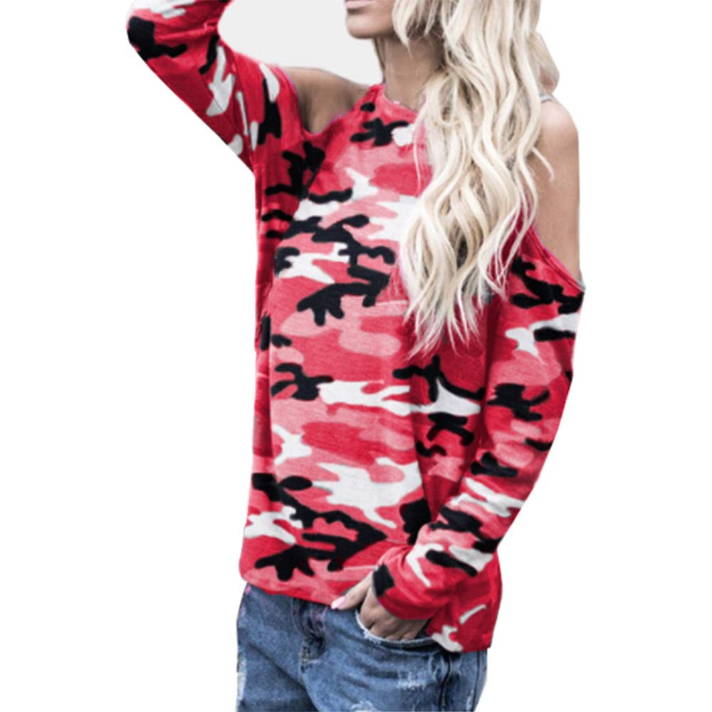 Women Sexy Off Shoulder Long Sleeve Shirt Camouflage Sweatshirt Casual Loose Top(Pink,Small)
