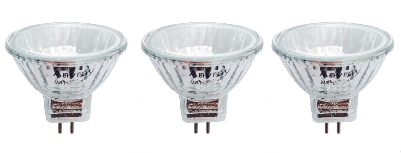 Anyray A2000Y (3-bulbs) Clear MR11 12Volt 5-Watt Precision Halogen Reflector Fiber Optic Light Bulb 5W 12V