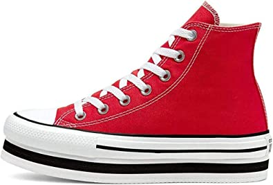 Converse Chuck Taylor All Star Platform Layer Bottom Chaussures DE Sport pour Femme Rouge 567996C