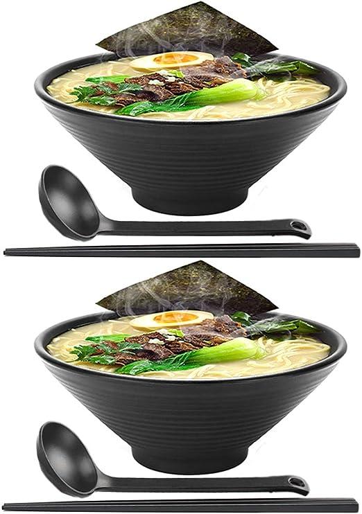 2 juegos (6 piezas) Japonés Conjuntos de cuencos de ramen Tazón de sopa de fideos ramen
