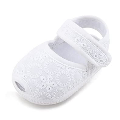 Delebao Baby Mädchen Weiße Taufschuhe Weiche Sohle