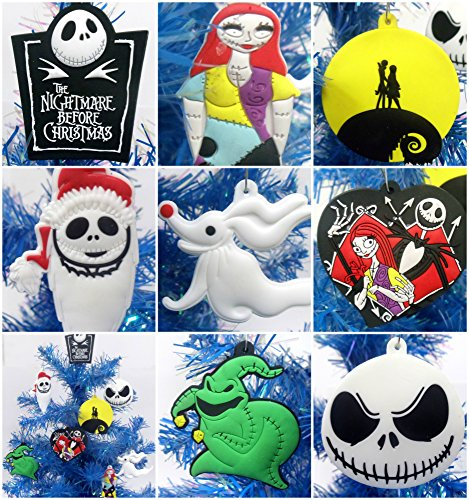 Nightmare Before Christmas 8 Piece Christmas Tree Ornament Set Featuring Jack Skellington and Friends - Around 2.5