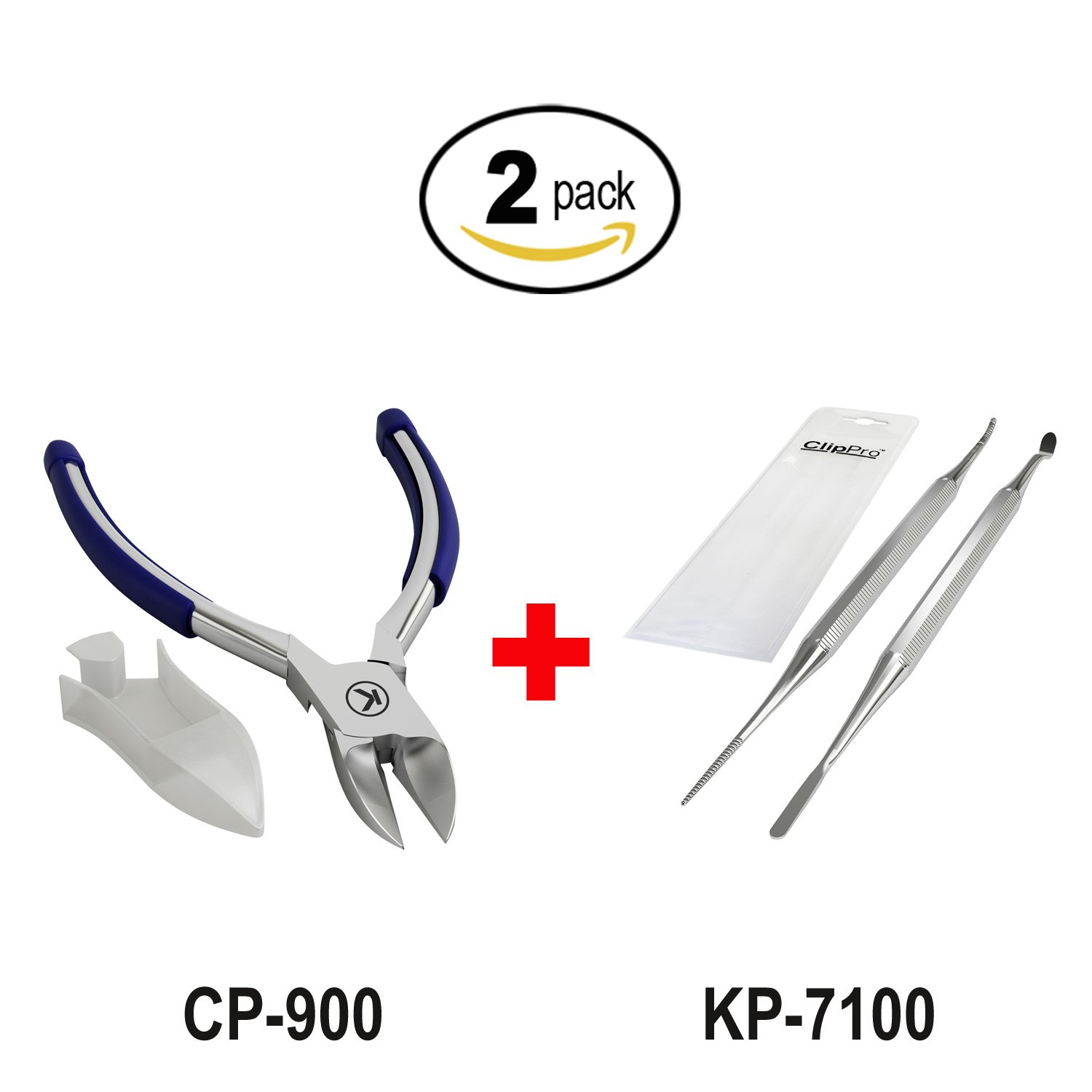 Bundle of 2 Items: Kohm CP-900 Nail Clipper for Thick Nails with Rubber Handle and KP-7100 Ingrown Toenail File & Lifter (2 Pack)