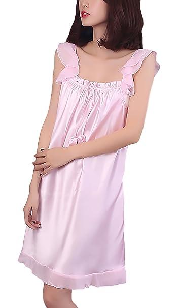 Pijamas Mujer Corto Elegante Tirantes Color Sólido Lenceria Camison Casuales Verano Moda Joven Bastante Confort Homewear Vestidos Pijama Fino Women: ...