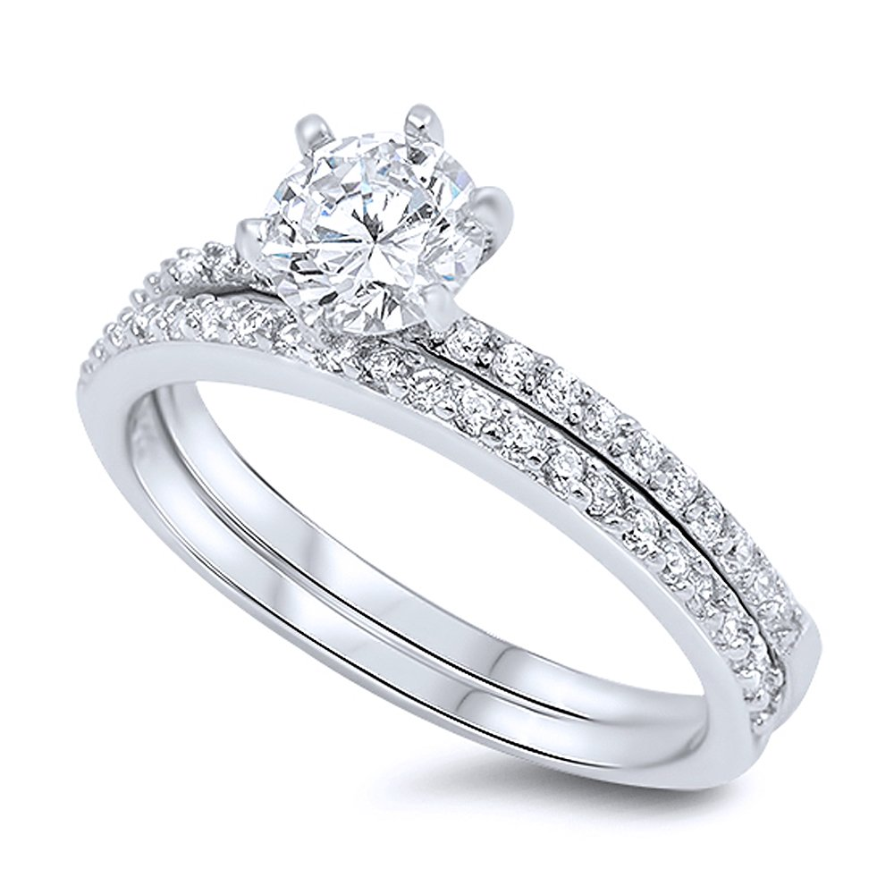 Sterling Silver Round CZ Stone Ring 2 pcs Wedding Ring Set 7MM ( Size 4 to 11 ) Double Accent