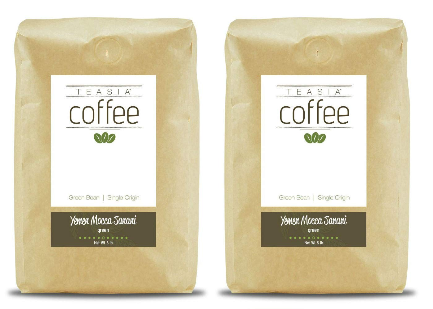 Teasia Coffee, Yemen Mocca Sanani, 2-Pack, Single Origin Fair Trade, Green Unroasted Whole Coffee Beans, 5-Pound Bag